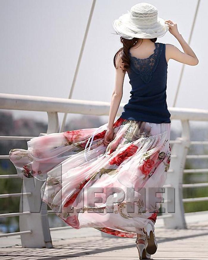 Robes d'été Plus La Taille des Femmes Floral Imprimé Robe en Mousseline de Soie Bretelles Volants Longues Jupes Bohème Beach Party Robes