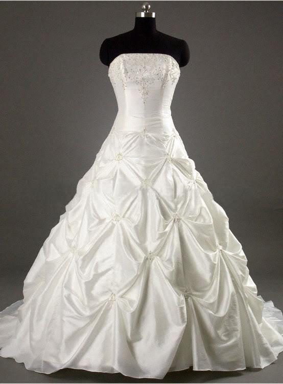 New Lace Up Back Strapless Sleeveless Applique Taffeta Wedding Dresses Bridal Gowns Fashion Dress Hot Sell