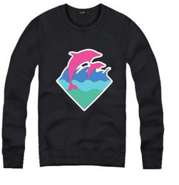 Wholesale White Pink Dolphin Sweatshirt - Free shipping Hiphop clothing Dolphin printed sweatshirts for spring autumn winter Pink dolphin Hoodie 8 colors Fleece sweatshirt