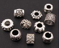 cuentas espaciadoras mixtas europeas al por mayor-Dots Flower Swirl Charm Spacer Beads Mix 140 Unids / lote Tibetan Silver Fit European Jewelry Jewelry DIY