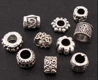 perles intercalaires mixtes européen achat en gros de-Dots Flower Swirl Charme Spacer Perles Mix 140Pcs / lot Tibétain Argent Fit Européenne Bracelet Bijoux DIY