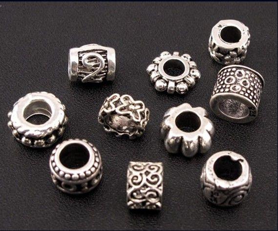 DOTS Flower Swirl Charm Spacer Beads Mélanger / Tibétain Argent Fit Fit Brocelet Européen Bijoux DIY