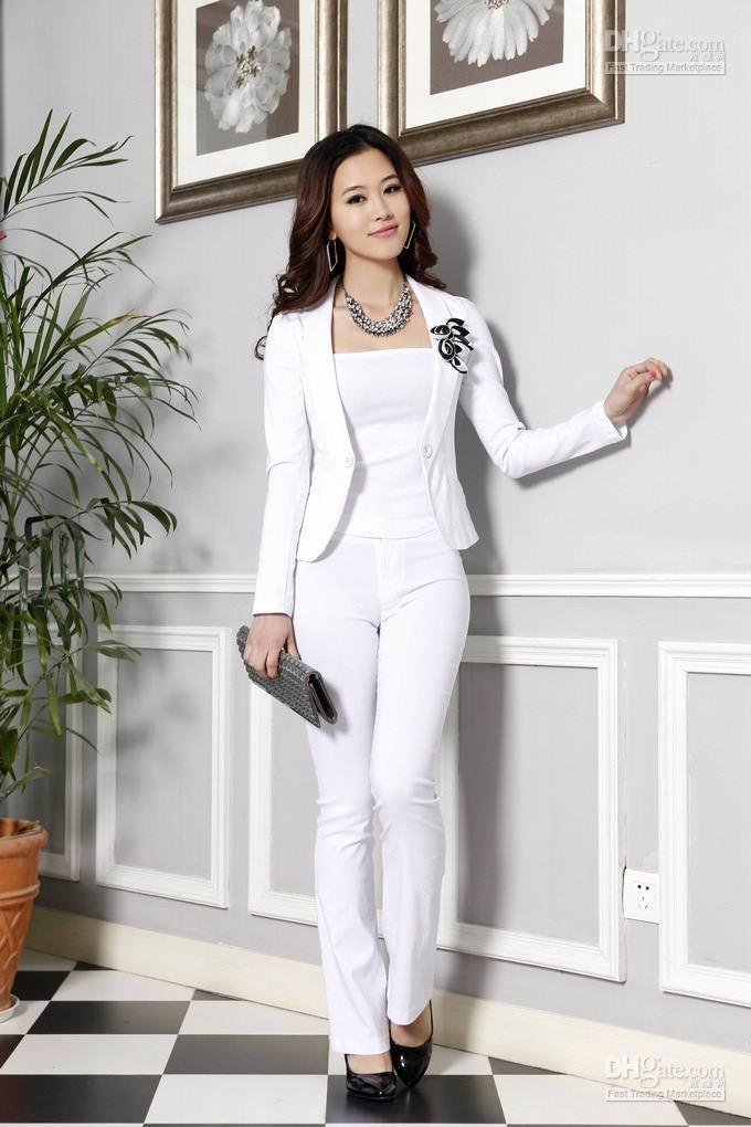 2017 Office Ladies Suit Women Set, White, Elastic, 1 Suit= Jacket  ...