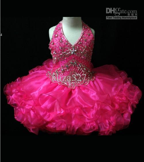 아름다운 생일 소녀 드레스 홀터 브이 - Neckline Pageant 가운 리틀