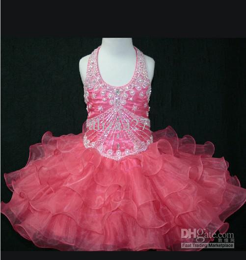 Mooie verjaardag girl jurk roep halslijn tiered rok Pageant toga kleine rosie