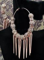 ingrosso perline di cristallo-2 paia 80mm Big Hoops Orecchini a forma di perline in argento / oro con perline di cristallo