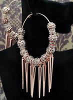 perlas de cristal al por mayor-2 pares de 80 mm Big Hoops plata / oro pendientes Spike beads cuentas de cristal pendientes