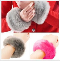 Wholesale Wristband Fur - Winter Fuzzy Artificial Rabbit Fur Bracelets Warm Cuff Wristband Oversleeve Gloves