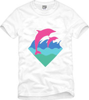 Wholesale Pink Dolphin T Shirts - Free shipping new arrival high quality mens t shirt pink dolphin clothing hip hop t-shirts dolphin print t-shirt 100% cotton 6 colors
