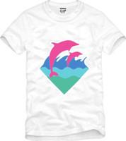 golfinho cor-de-rosa livre venda por atacado-Frete grátis nova chegada de alta qualidade mens camiseta rosa golfinho roupas hip hop t-shirt golfinho impressão t-shirt 100% algodão 6 cores