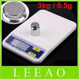 Wholesale Shipping Scale Lbs - 20pcs lot 3Kg 0.5g LCD Digital Electronic Food Kitchen Weight Scale Kg Oz Lb Free Shipping