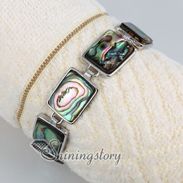 Wholesale Abalone Bracelets - oblong seawater rainbow abalone shell mother of pearl toggle charms bracelets jewelry