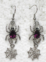 Wholesale Spider Earrings Rhinestone - Wholesale Crystal Rhinestone Spider Cobweb Fashion Dangle & Chandelier Chain Earrings Party gift A193