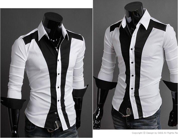 2017 Blending White Men's Casual Long Sleeved Shirt 2013 New ...