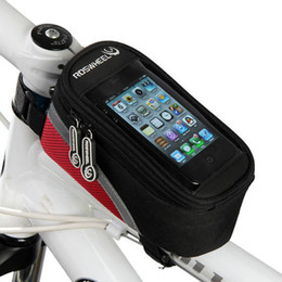 Wholesale Bike Bicycle Cycling Front Bag - Bicycle bike Front tube Trame Bag for IPhone HTC Cycling Red Blue Grey