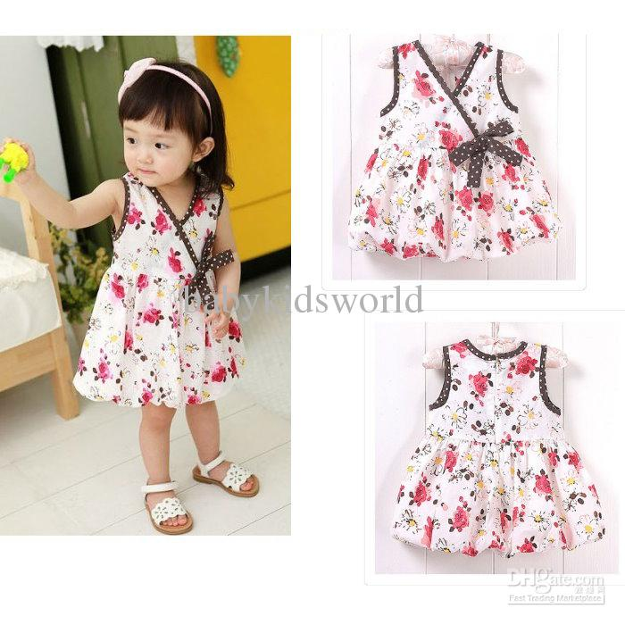 76c5e1da2246 Cut Baby Dress Floral Print Baby Dress  Girls  Summer Vest Skirt ...