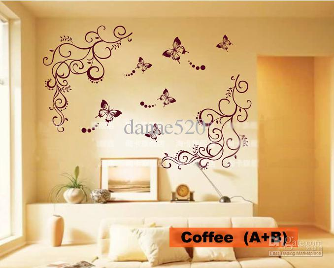 Butterfly Vine Flower Wall Art Stickers Decals Wall Paster House ...