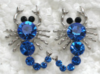 Wholesale Scorpion Stud Earrings - Wholesale Sapphire Crystal Rhinestone Scorpion Fashion Stud Earrings A166 B