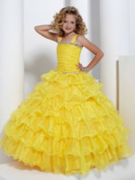 Lovely Brt Yellow Layers Flower Girl Dress Girls' Formal Dre...
