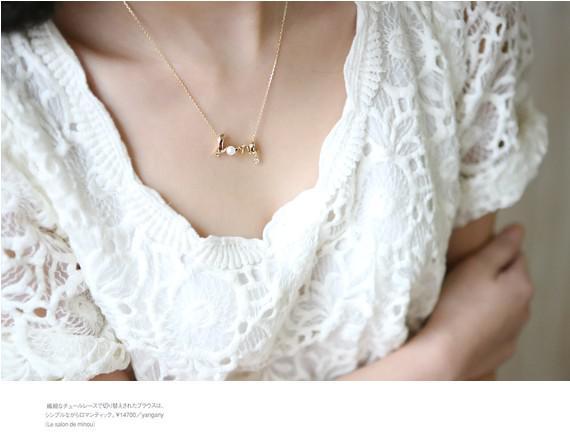 Tillbehör Mode Personlighet OL Elegant All-Match Kort Design Kärleksbrev Halsband SilverGold
