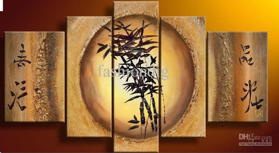 Bambou Feng Shui toile de peinture à l'huile Fortune décoration Home Office wall art decor cadeau À La Main Nouveau