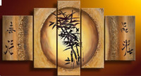 Bamboo Feng Shui pittura ad olio su tela decorazione Fortune Home Office wall art decor Regalo Handmade Nuovo
