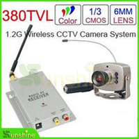 Wholesale 1 GHz Wireless Receiver Wireless Color LED IR Nightvision Mini Camera Wireless CCTV Camera Kit
