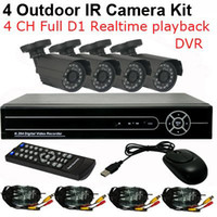 Wholesale Dvr 6mm - CCTV 4CH H.264 Full D1 realtime record Standalone Network DVR CMOS 6mm lens Outdoor IR Camera VIdeo