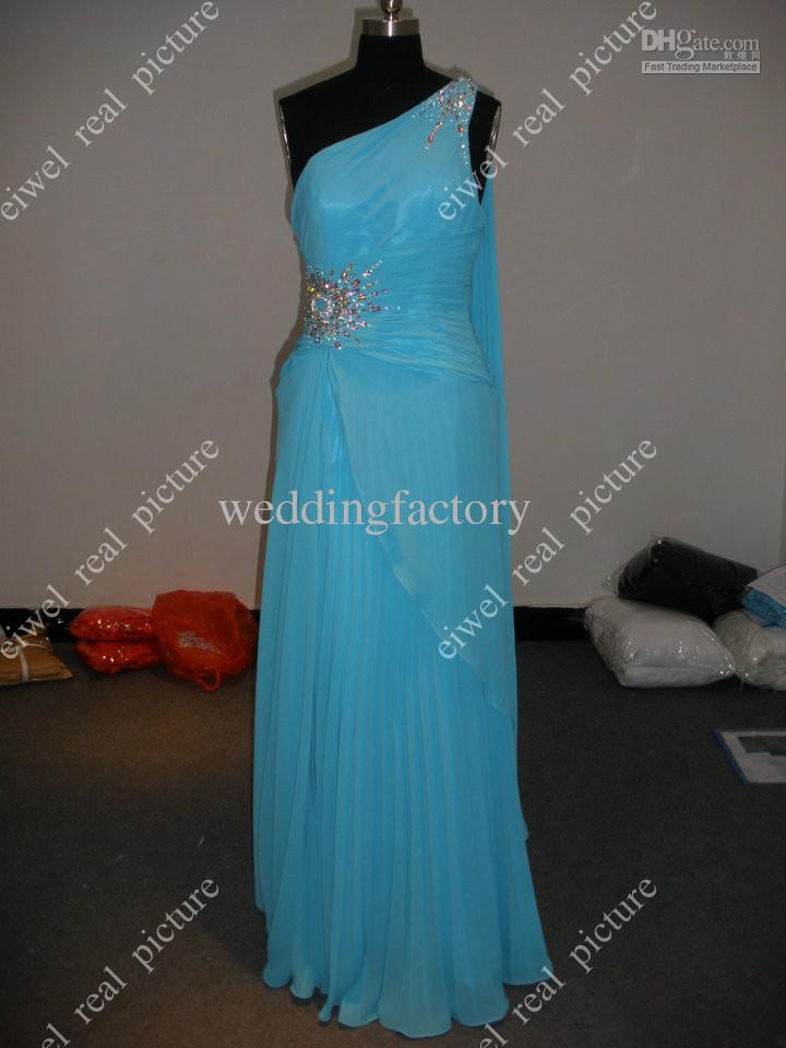 Beaded Prom Dresses with Ribbon Ankle Length A Line Ruffled Blue Chffon Ladies Formal Evening Gowns