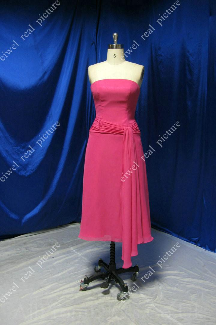 Strapless Bridesmaids Dresses with Waist Ribbon A Line Tea Length Chiffon Simple Design Ladies Gowns