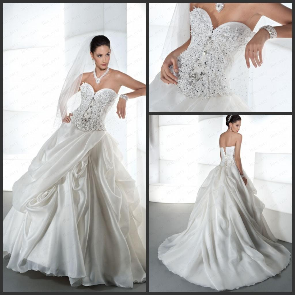 Stunning Wedding Gowns Organza Sweetheart Beaded Crystal