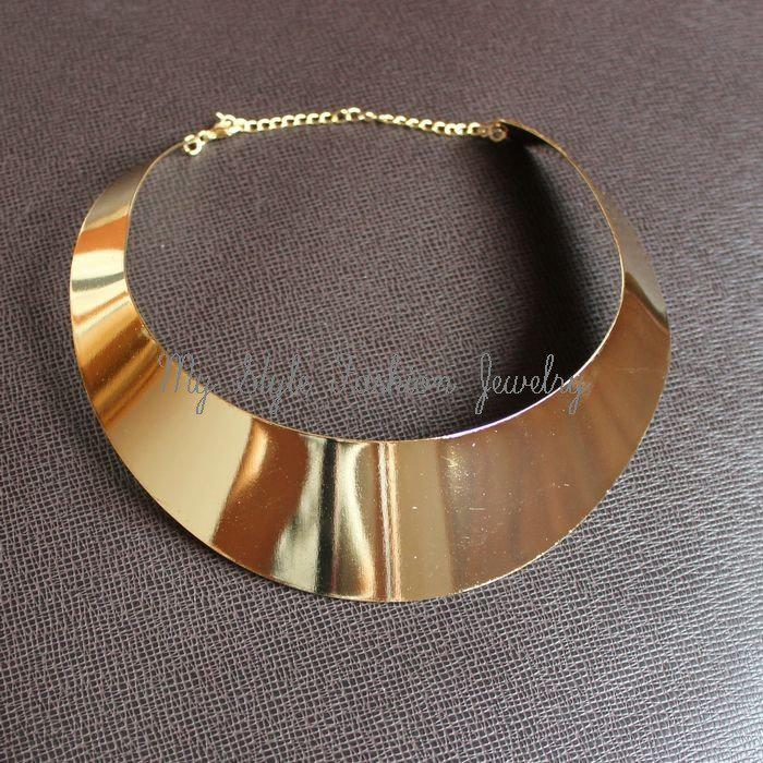Hot 18KGP Lady Gold Curved Metal Choker Collar Bib Torque Torc Necklace Punk Gothic Collar Free Ship