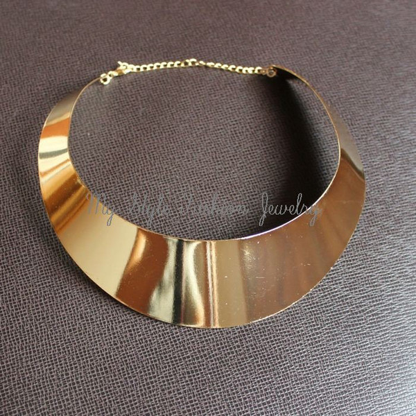 Hot 18KGP Lady Gold Curved Metal Choker Collar Bib Torque Torc Collana Punk Collare Gotico Libera la nave
