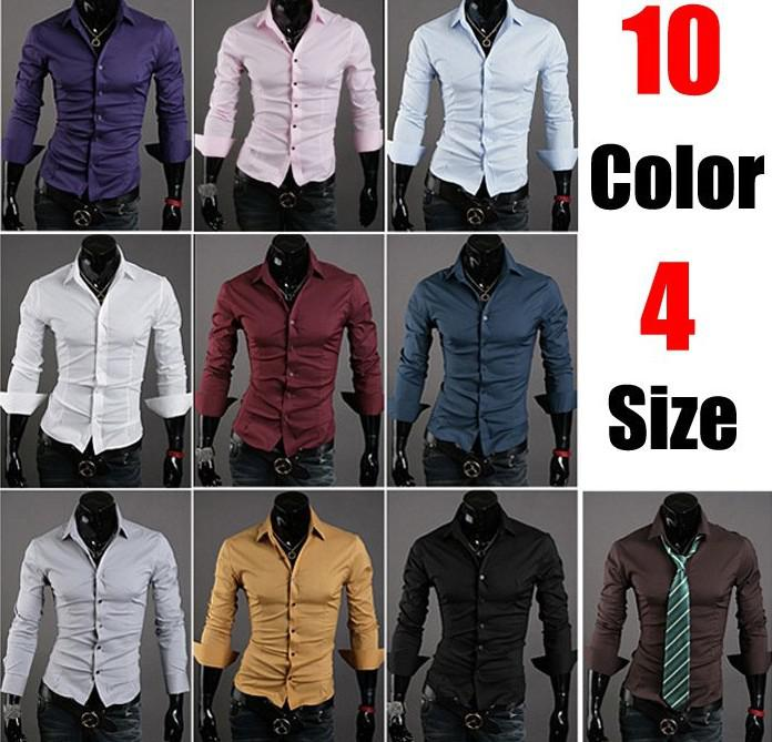 Stylish Men Casual Shirts Slim Dress Shirts Long Sleeve Designer ...