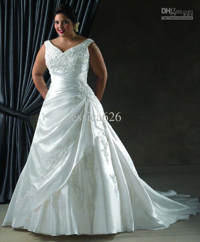 2013 Hot Plus Size A Line Wedding Dress V Neck Applique Cathedral