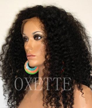 "16"" #1B,100% Virgin Brazilian Hair,Afro Kinky Curl, Glueless Lace Front Wigs for Black Women UPS/DHL"