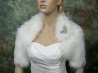 Wholesale Shawls Pin - Ivory Wedding Bridal Capes Short Sleeves 2014 Hot New Fuax Fur Crystal Pin Jacket Shrug Stole