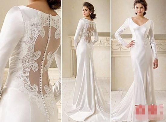 Hot Sale V Neck Wedding Dresses Long Steeve Charmeuse See Through ...