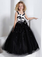 Lovely Black Tulle Flower Girl Dress Girls' Formal Dress Pag...