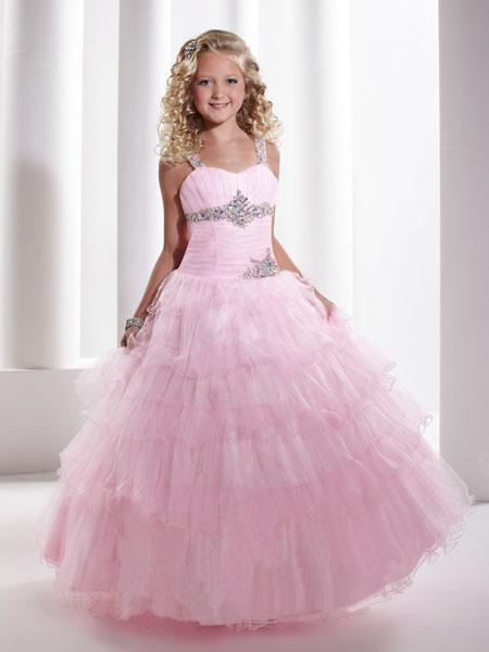 Lovely Pink Tulle Layers Vestido de niña de las flores Vestido formal Vestido de fiesta SZ 2-10 HF13114
