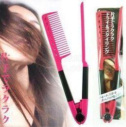 Discount brush dries straightens hair - DIY Folding Hairdressing Salon Styling Brazilian keratin treatment Grip Straightening V Comb NIB