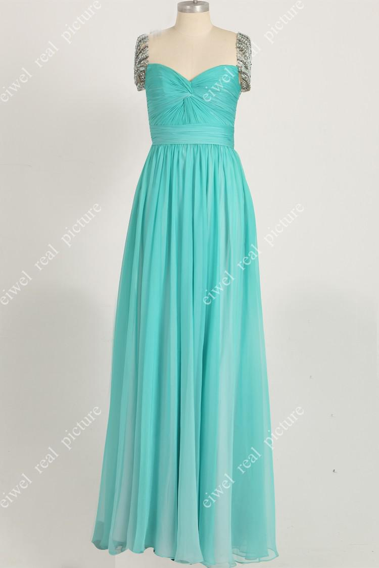 ED5797 Hot Sale Green Cap Sleeves With Beaded A-Line Floor-Length Ruched Evening Dress