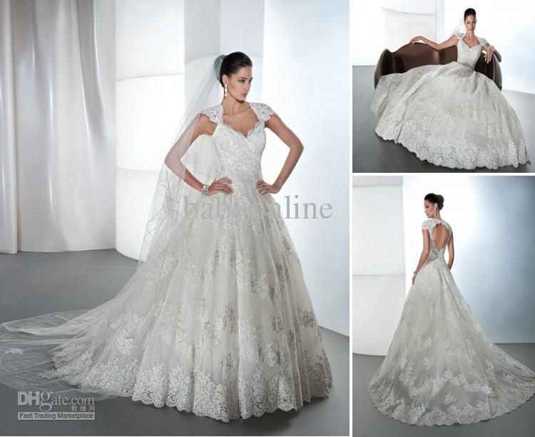 Lace Ball Gown Wedding Dresses: 2013 Sexy Cap Sleeves Lace Wedding Dresses A Line Beaded