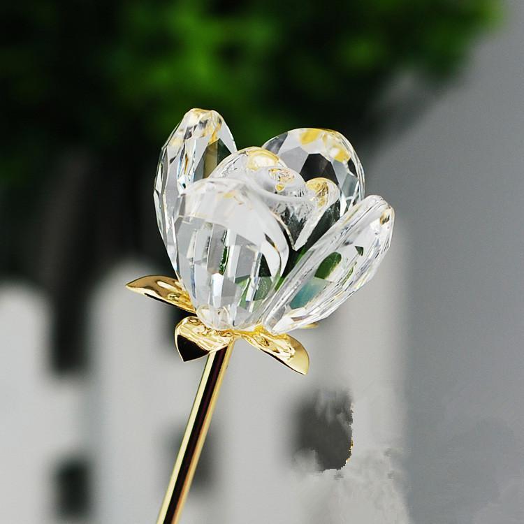 バレンタインのクリスタルガラスローズの花の結婚式のための長い黄金の茎ありがとうございました。