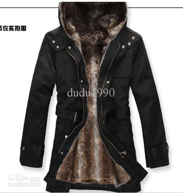 Faux Fur Lining Men'S Fur Coats Winter Jacket / Overcoat /Warm ...