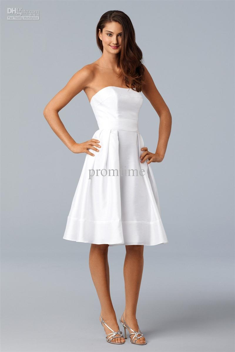 Plain Simple White Taffeta Knee Length Sash Bridesmaid Dress Prom ...