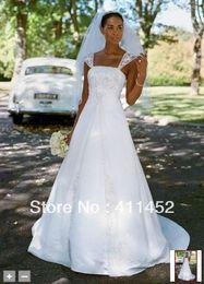 Wholesale Wedding Dress Chiffon Overlay - Perfact!! New white cap sleeve A-line with Chiffon Split Front Overlay Wedding dresses Style V9010 zipper back