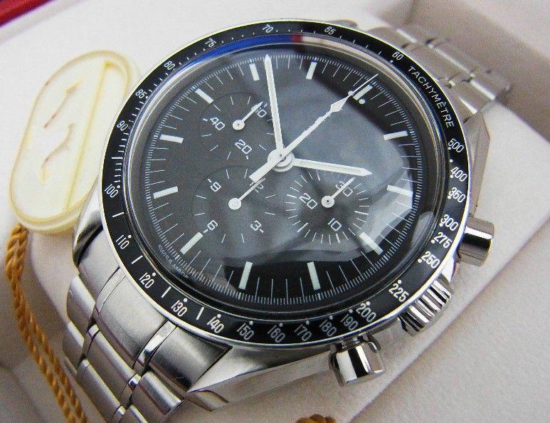 Mens Acero Negro Dial automático del reloj para hombre de la luna profesional Broad Arrow No hay cronógrafo mecánico relojes automáticos para hombre
