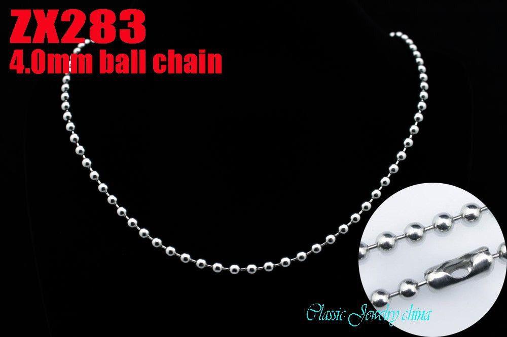 Hot Koop Geweldige Kwaliteit Mode-sieraden 4.0mm 316L Rvs Bead Chain Ball Necklace Men Father's Gift Punk 18 '' - 36inch