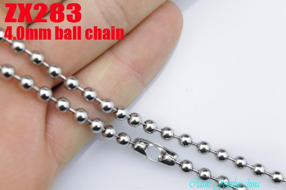 Venta caliente gran calidad joyería de moda 4.0 mm 316L acero inoxidable bolas de cadena collar de los hombres regalo punk del padre 18 '' - 36 pulgadas por lote